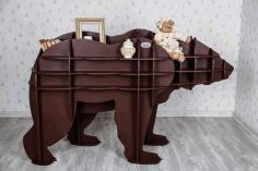 Laser Cut Animal Shelf Bear Shelf Kids Room Furniture Free CDR Vectors Art