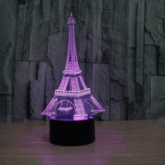 LaserCut Eiffel Tower Acrylic 3d Illusion Lamp Free CDR Vectors Art
