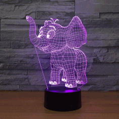 Laser Cut Baby Elephant 3d Night Light Desk  Optical Acrylic Lamp Free DXF File