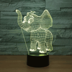 Laser Cut Baby Elephant 3d Night Light Desk 3d Optical Illusion Lamp Free DXF File