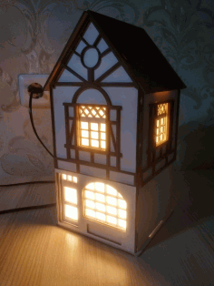 House Shaped Night Light Lamp Laser Cut Plans Free DXF File