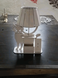 Laser Cut Cat Table Lamp With Organizer Free DXF File