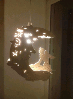 Laser Cut Fairy Moon Lamp Night Light Free DXF File