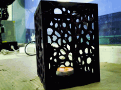Plywood Lamp Candle Lantern Laser Cut Template Free DXF File