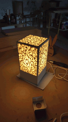 Laser Cut Decorative Night Light Lamp Free CDR Vectors Art