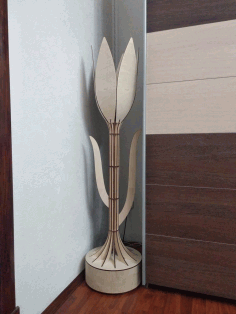 Laser Cut Decorative Tulip Floor Lamp Free CDR Vectors Art