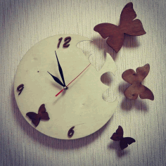 Laser Cut Butterfly Wall Clock Free CDR Vectors Art
