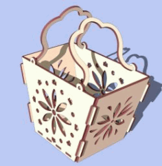 Cnc Laser Cut Wooden Basket Free CDR Vectors Art
