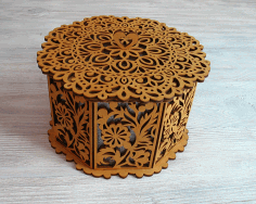 Laser Cut Decorative Basket With Lid Octagon Basket Free CDR Vectors Art