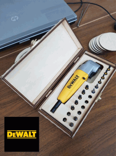Laser Cut Wooden Box For Dewalt Right Angle Attachment Free CDR Vectors Art