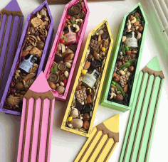 Laser Cut Pencil Candy Box Pencil Shaped Gift Box Free DXF File