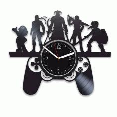 Laser Cut Gamer Style Clock Template Free CDR Vectors Art