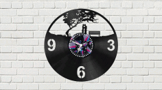 Laser Cut Vinyl Clock With Couple Free CDR Vectors Art