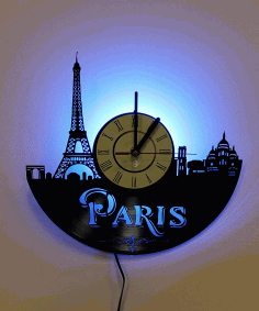 Laser Cut Paris France Vinyl Record Wall Clock Free DXF File