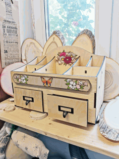 Laser Cut Cosmetics Jewelry Organizer Storage Box With Drawers 6mm Free CDR Vectors Art