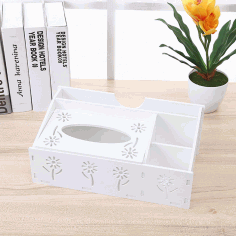 Laser Cut Desk Organizer With Napkin Holder Storage Organizer Tissue Box Pen Holder Free CDR Vectors Art