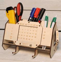Laser Cut Desk Organizer With Perpetual Calendar Unique Teacher Gifts Free CDR Vectors Art
