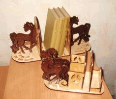 Laser Cut Horse Bookend Organizer Free CDR Vectors Art