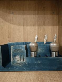 Laser Cut Kitchen Restaurant Organizer Salt Pepper And Tissue Holder 3mm Free CDR Vectors Art