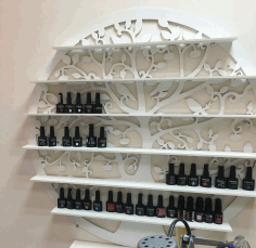 Laser Cut Nail Polish Wall Rack Shelf Holder Nail Varnish Storage Organizer Free CDR Vectors Art