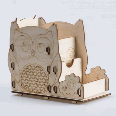 Laser Cut Owl Pen Holder Office Desk Organizer Free CDR Vectors Art