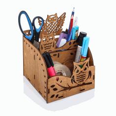 Laser Cut Owl Wooden Desktop Organizer Office Supplies Storage Rack Free CDR Vectors Art