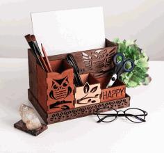 Laser Cut Owls Desktop Organizer Free CDR Vectors Art