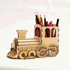 Laser Cut Steam Locomotive Pen Organizer With Bank Free CDR Vectors Art