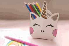 Laser Cut Unicorn Desk Organizer Free CDR Vectors Art