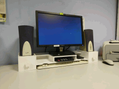 Laser Cut Desktop Monitor Riser Desk Organizer Storage Shelf For Computer Free DXF File