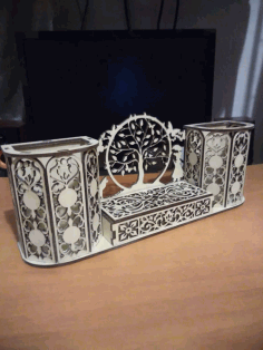 Laser Cut Decorative Desk Organizer Pen Holder Free CDR Vectors Art