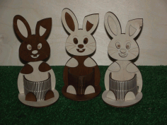 Laser Cut Easter Bunny Pencil Holder Desk Organizer Free CDR Vectors Art