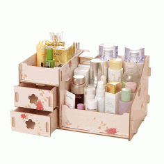 Laser Cut Makeup Organizer Box Drawer Cosmetics Storage Free CDR Vectors Art