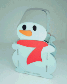 Laser Cut Snowman Pen Holder Organizer Free CDR Vectors Art