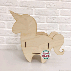 Laser Cut Unicorn Pencil Holder Organizer Flower Box Free CDR Vectors Art