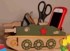 Laser Cut Wood Tank Shape Desk Organizer Free CDR Vectors Art