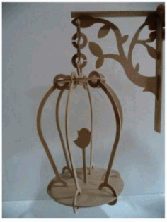 Cnc Laser Cut Wooden Bird Cage Free CDR Vectors Art