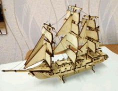 Cnc Laser Cut Wooden Sailing Boat Free CDR Vectors Art