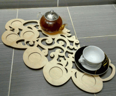 Laser Cut Wooden Decorative Tea Tray Free DXF File