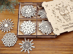 Wooden Christmas Decorations Rustic Ornaments Snowflakes Set Free DXF File