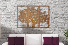 Laser Cut Tree Of Life 3 Panel Wood Wall Art Free CDR Vectors Art