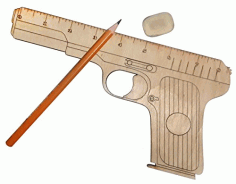 Laser Cut Wooden Gun Shaped Measuring Ruler Free CDR Vectors Art