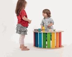Laser Cut Wooden Rainbow Rocker Swing Kids Rocker Toy Free CDR Vectors Art