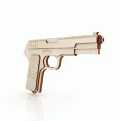 Laser Cut Wooden Rubber Band Gun Tula Tokarev Tt Pistol Rezinkostrel Free CDR Vectors Art