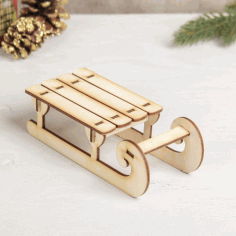 Laser Cut Wooden Sled Free CDR Vectors Art