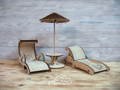 Laser Cut Wooden Sun Loungers With Umbrella Free CDR Vectors Art