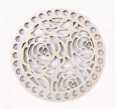 Wooden Bottom For Baskets Openwork Circle Of Roses Free CDR Vectors Art