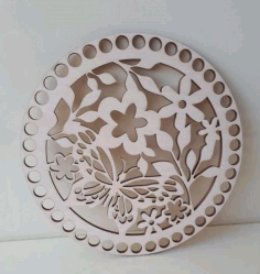 Wooden Bottom Lid For Baskets With Pattern Free CDR Vectors Art