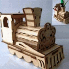 Cnc Laser Cut Train Pen Holder Free CDR Vectors Art