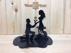 Laser Cut Napkin Holder Couple With Flower Free CDR Vectors Art